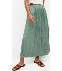 mango women's pleated midi skirt