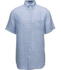 the linen shirt reg ss bd overhemd met korte mouwen blauw gant