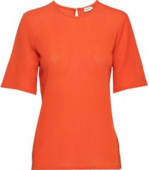 mesh tee t-shirts & tops short-sleeved orange filippa k
