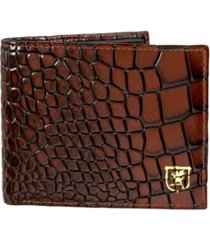 stacy adams leather croc embossed bifold wallet