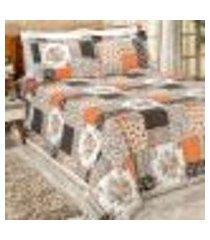 kit cobre leito patchwork 3 peças 2,50m x 2,20m casal padrão