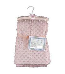 cobertor para bebê microfibra de bolinhas 1,50m x 1,00m com cabide sweet baby - rosa