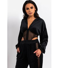 akira change the channel velour zip front hooded bodysuit