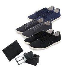 kit 3 sapatênis casuais + cinto elegante + carteira - azul/grafite/preto ro02