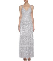 sequin embellished sleeveless gown