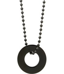 men's black plated stainless steel circle pendant necklace