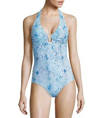 melissa odabash women's tampa surf printed halter one-piece swimsuit - sky - size 42 (6)