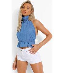 geplooide spijkerblouse met hoge hals en rug strik, mid blue