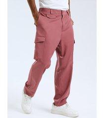 botón de moda para hombre diseño casual de cintura alta con cremallera frontal pantalones