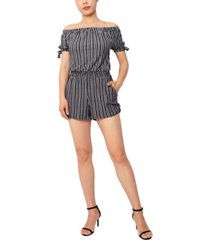derek heart juniors' striped off-the-shoulder tie-sleeve romper