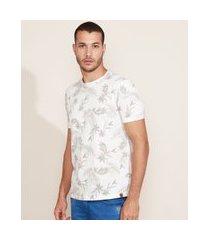 camiseta masculina estampada floral manga curta gola careca off white 1