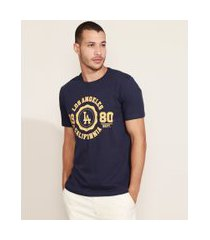 "camiseta masculina los angeles"" manga curta gola careca azul marinho"""