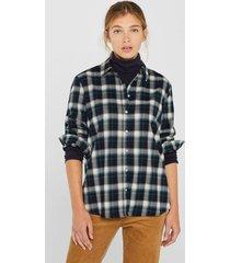 blusa de franela con componente elástico azul esprit