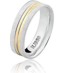 aliança masculina prata 925 natalia joias anatômica com filete ouro