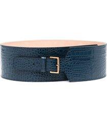 agnona crocodile-effect leather belt - blue