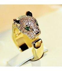 anillo puma en plata ley 925 con oro blanco 10k ojos esmeralda natural