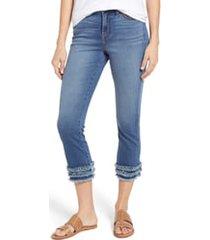 women's jen7 cropped fringe hem jeans, size 16 - blue/green