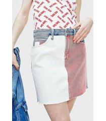 falda tommy jeans corta multicolor - calce regular