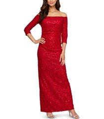 alex evenings petite off-the-shoulder glitter lace gown