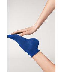 calzedonia cuffless short socks in cotton woman blue size tu