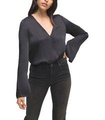 women's good american wrap front long sleeve satin bodysuit, size 4 - black