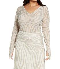 plus size women's afrm geri power mesh top, size 1x - beige