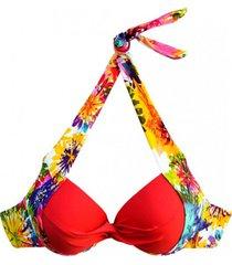 bikini sostén con barba y relleno estampado rojo samia
