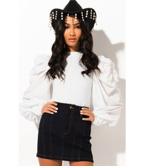 akira think about it puff sleeve blouse