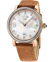 gv2 women's ravenna stainless steel, mother-of-pearl, diamond & suede strap watch