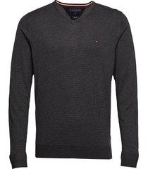 core cotton-silk vneck stickad tröja v-krage grå tommy hilfiger