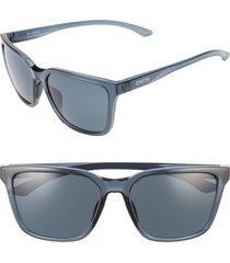 women's smith shoutout 57mm chromapop(tm) polarized square sunglasses - crystal mediterranean/ black