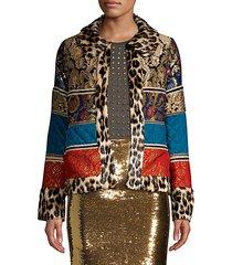 glennie leopard-trim faux fur patchwork jacket