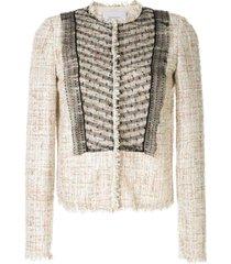 giambattista valli bouclé-tweed mesh jacket - neutrals