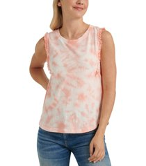 lucky brand tie-dyed ruffled top