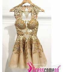 ball gown v neck see through lace appliques short tulle prom gown cocktail dress