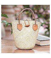 leather-accented rattan handbag, 'sunda simplicity' (indonesia)