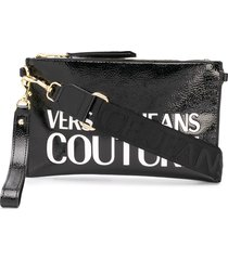 versace jeans couture logo embossed clutch bag - black