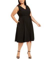 calvin klein plus size belted embellished a-line dress