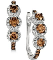 le vian chocolatier diamond hoop earrings (1-1/5 ct. t.w.) in 14k white gold