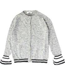 monnalisa grey wool and cashmere blend cardigan