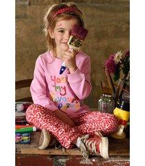 oilily katoenen broek met roze paper cut blokprint-