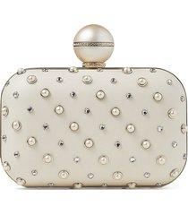 jimmy choo cloud pearl-embellished clutch bag - neutrals