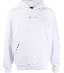 babylon la embroidered-logo cotton hoodie - grey