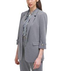 dkny herringbone-print cuffed-sleeve blazer