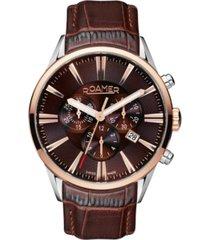 roamer men's chronograph 44 mm dress watch in steel case on strap