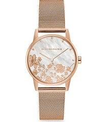 classic rose goldtone floral stainless steel mesh bracelet watch