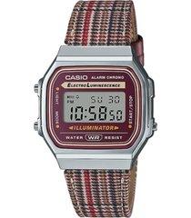casio unisex digital houndstooth leather strap watch 36.3mm