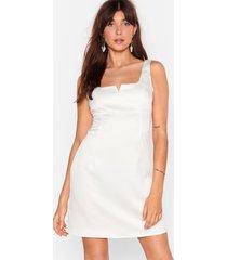 womens do notch disturb satin mini dress - white