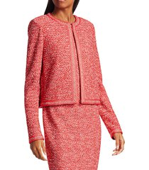 st. john women's marled space dyed tweed knit jacket - coral multi - size 10