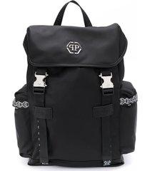 philipp plein junior mochila com acabamento de logo - preto